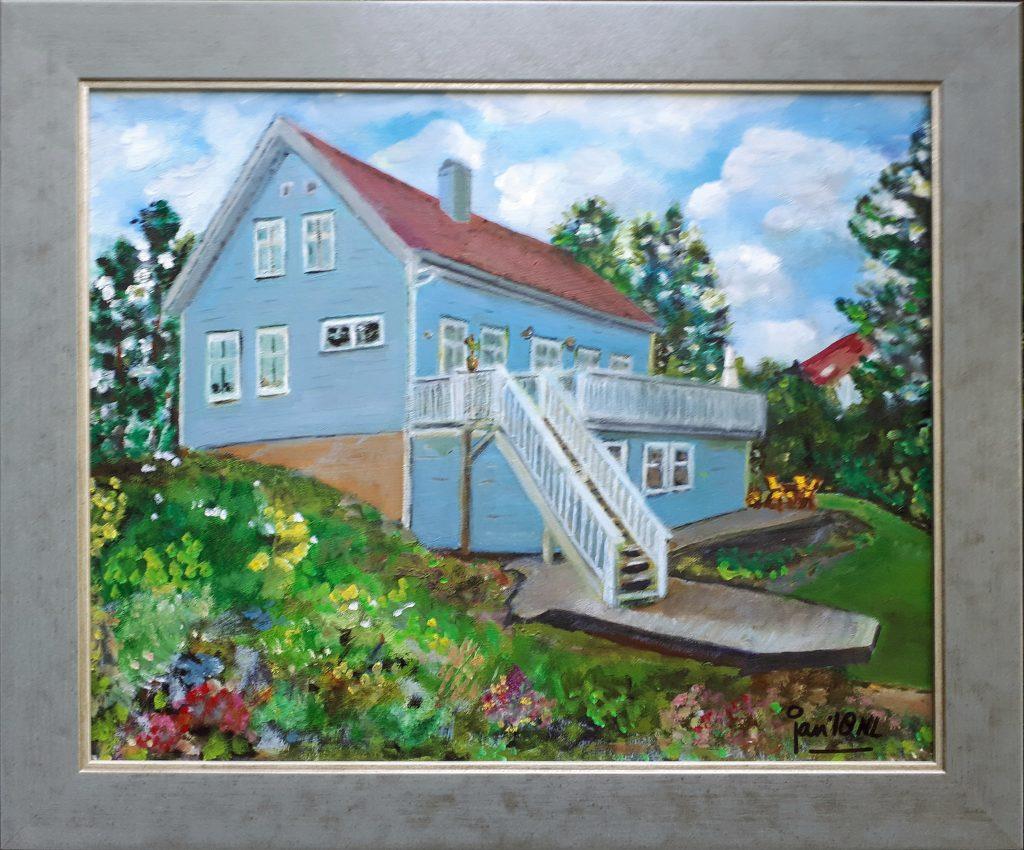 Jan Boer Wageningen - olieverfschilderij van huis in Noorwegen