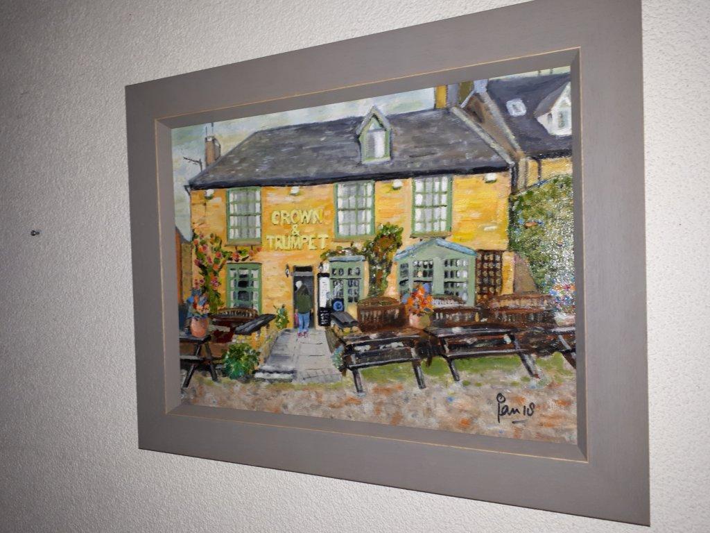 Jan Boer Wageningen - olieverfschilderij Crown & Trumpet Inn