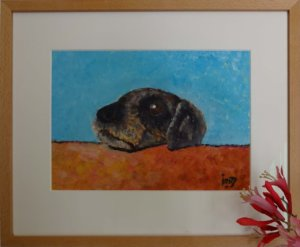 Jan Boer Wageningen - olieverfschilderij van hondje Elvis