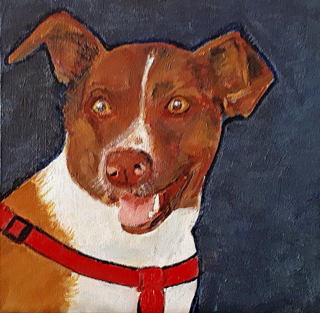 Luna Olieverfschilderij van hond, door Jan Boer Wageningen