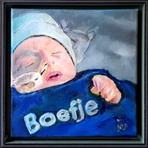 Boefje Jan Boer Wageningen olieverfschilderij