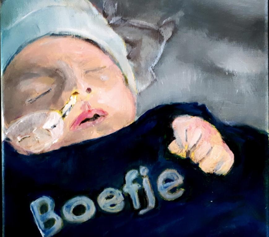 Boefje schilderproces Jan Boer van baby